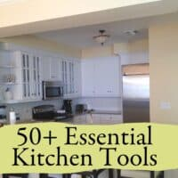 Looking into an empty kitchen with a logo sharing that it is about essential kitchen tools